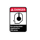 Danger, Ear Protection Required In This Area With Graphic Signs